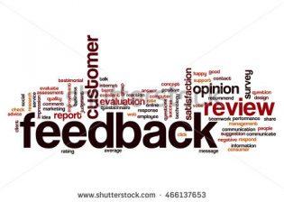 A word cloud focused on the word Feedback