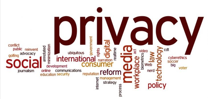 Word Cloud image focused on privacy